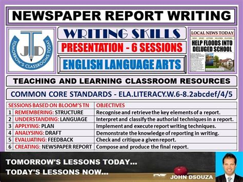 newspaper report writing unit lesson