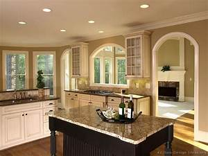 Pictures of kitchens traditional off white antique for Kitchen colors with white cabinets with labrador wall art