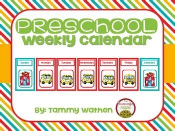 Preschool Weekly Calendar by The Resourceful Apple   TpT