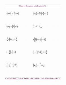 Order Of Operations With Fractions  A  Worksheet For 5th