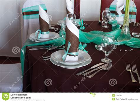 deco table turquoise chocolat wedding table set with decoration for dining or another catered event stock image image