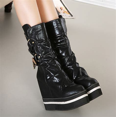 Winter Western Boots Pure Color Side Zipper Round Toe