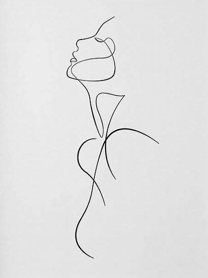 Line Minimalist Tattoo Drawing Silhouette Woman Female