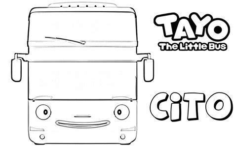 gambar mewarnai tayo the bis kecil yang baik