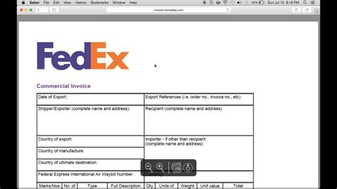 fill  fedex commercial invoice template  youtube