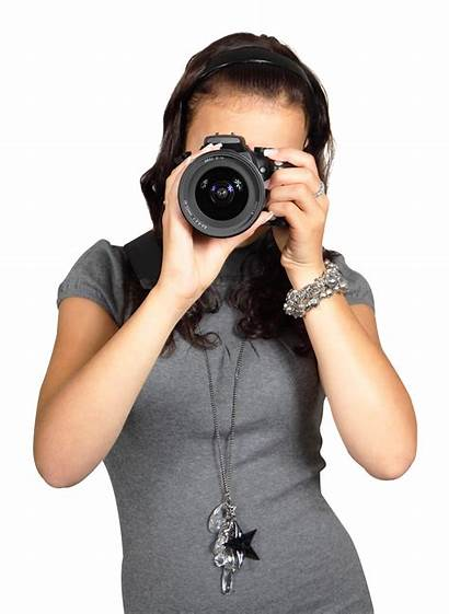 Camera Woman Digital Young Photographer Taking Transparent