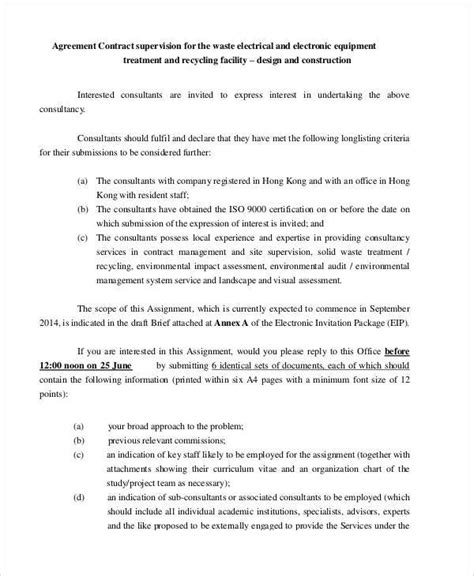 contract agreement templates sample templates