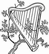 Harp Coloring Irish Pages Clip Vector Instrument Tartan Symbols Branch Musical Squidoo sketch template