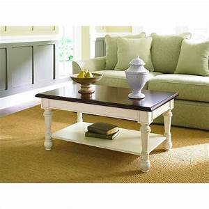 Hammary promenade rectangular cocktail table fruitwood for Antique cream coffee table