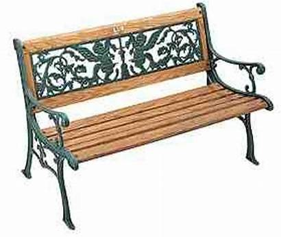 Iron Bench Cast Wood Park Outdoor Cherubs