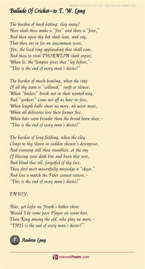 ballade  cricketto   lang poem  andrew lang