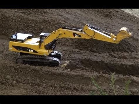 awesome rc metal excavator caterpillar   sound  mini trucks roadworks  real