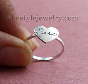 Signature Heart Ring - Engraved Handwriting Heart Ring ...