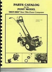 Troy Bilt Pony Tiller Parts Catalog  Manual 1981