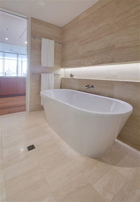 Modern Bathroom Tiles Perth by Travertine Light Vein Cut Modern Bathroom