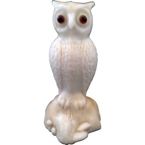 fenton owl l westmoreland fenton owl solid glass figurine white caramel
