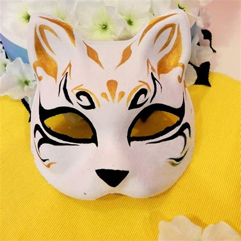 face hand painted japanese fox mask black gold