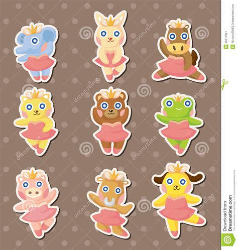 cartoon animal ballerina dancer stickers stock image