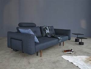 recast sofa bed in nist blue fabric w arms by innovation With innovation recast sofa bed
