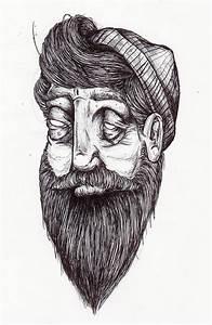 art, beard, black and white, cute, drawing - image #444143 ...
