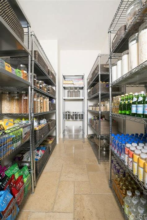 galley style kitchen pantry  industrial shelving