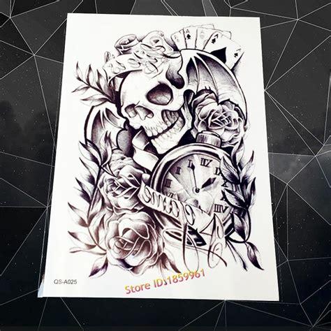 large armband flash temporary tattoo sticker punk skull clock rose design men women body leg art