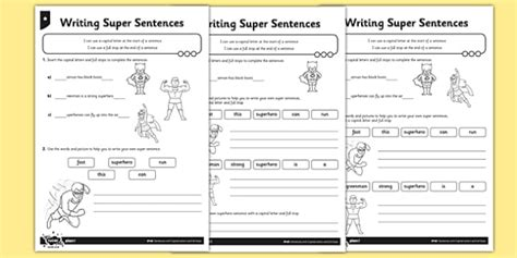 writing super sentences differentiated worksheet worksheet gps