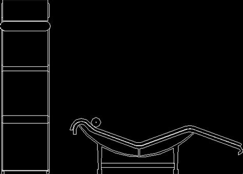 chaise long couch le corbusier dwg block  autocad