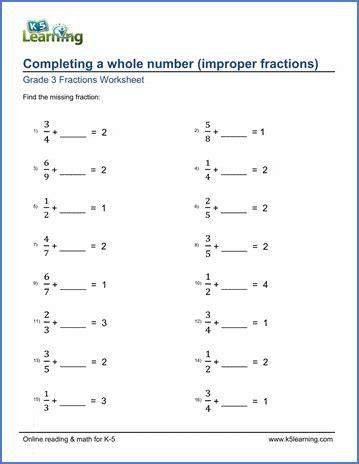 grade  worksheet add improper fractions  complete