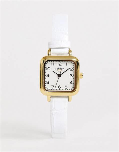 limit horloge met bandje van imitatieleer en vierkante wijzerplaat  wit asos
