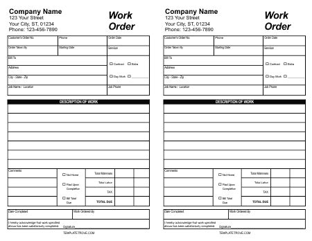 work order templates formats examples  word excel