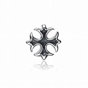 Boucle d'oreille clou homme croix occitane argent oxyde BijouxStore webid:945