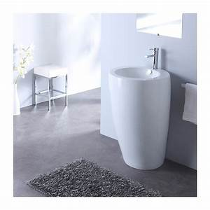 lavabo sur pied rond design blanc With salle de bain design avec lavabo sur pied salle de bain