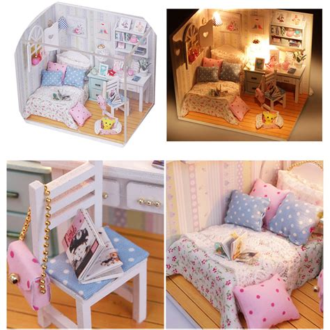 diy wood dollhouse miniature  led furniture cover doll