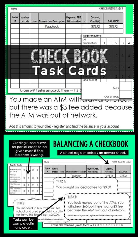 checkbook task cards activity task cards homeschool