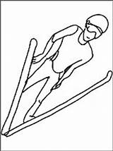 Ski Coloring Jumping Pages sketch template