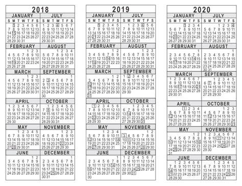 3 Year Calendar 2018 2019