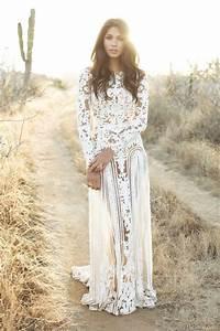 Brunette hippie boho gal w waves in white wedding dress for Boho dresses wedding
