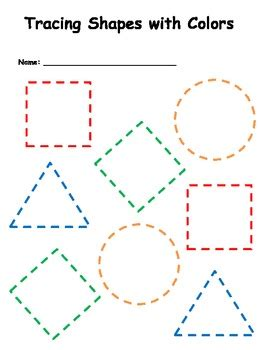 tracing shapes with colors by miss kb teachers pay teachers
