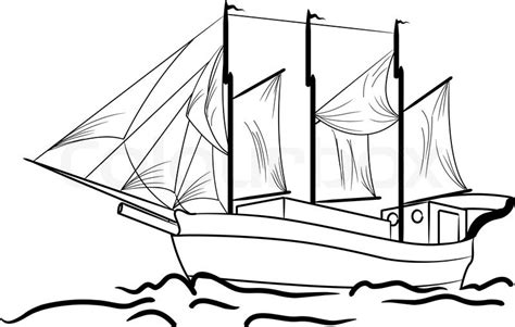 Old Sailboat Outline by Sketch Of Nautical Sailing Vessel Stock Vector Colourbox