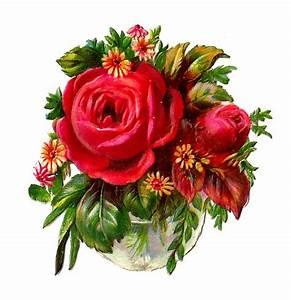 Antique Images: Free Flower Clip Art: Red Rose Bouquet ...