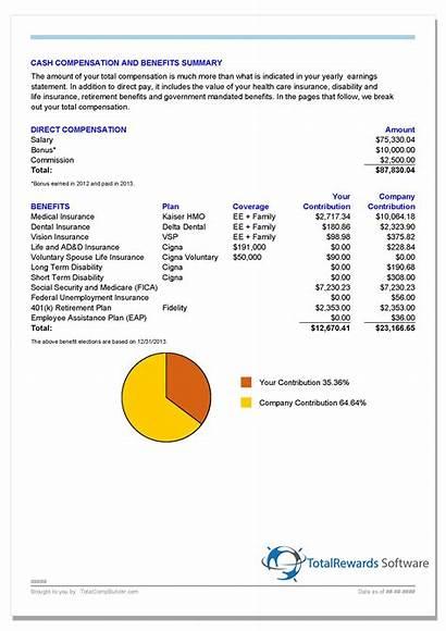 Compensation Total Benefits Statement Example Rewards Cash