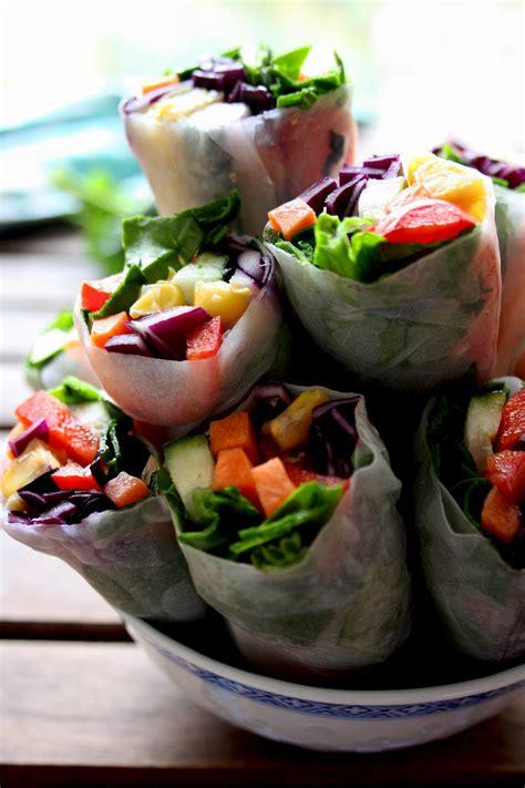 vegan spring rolls  peanut sauce happy kitchenrocks