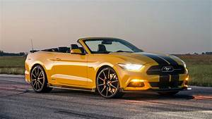 Wallpaper Hennessey Mustang GT Convertible, HPE750 Supercharged, yellow, sport car, racing, SEMA ...