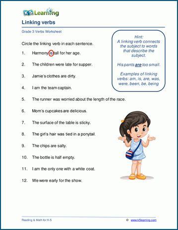 grade  verbs worksheets  learning
