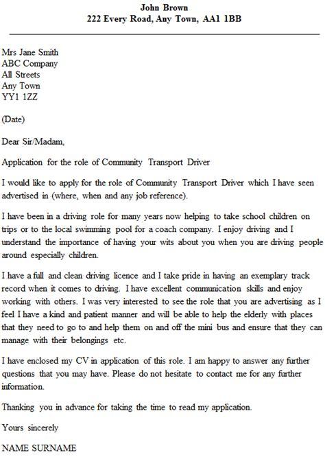 community transport driver cover letter  icoverorguk