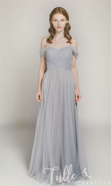 Long Off Shoulder Tulle Bridesmaid Dress In Sky Gray Tbqp328