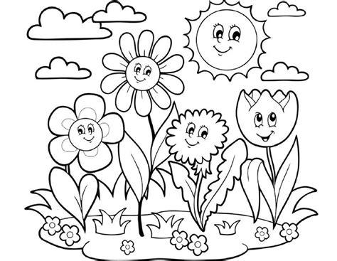 gambar mewarnai bunga matahari di taman belajarmewarnai info