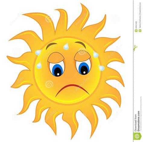sun l for sad sad sun is exhausted from a heat stock vector