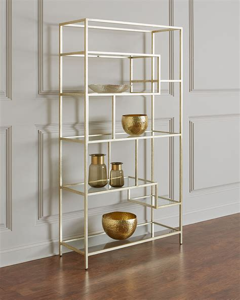 Silver Etagere by Furniture Lysette Silver Leaf Etagere Neiman